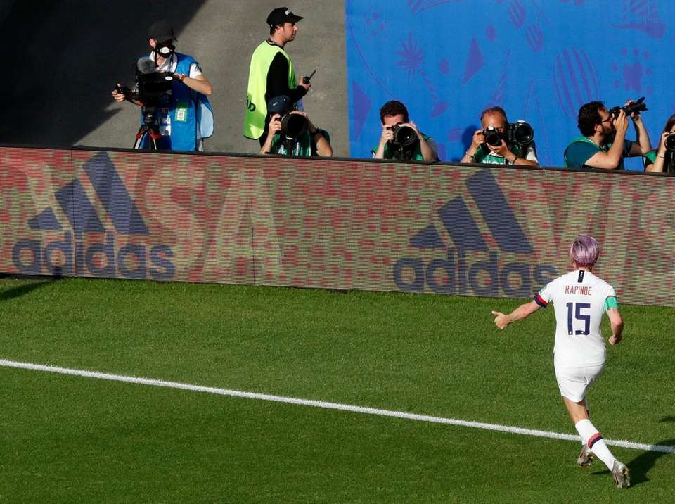 United States' Megan Rapinoe celebrates after scoring her