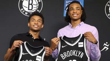 The Nets introduce Jaylen Hands, left, and Nic