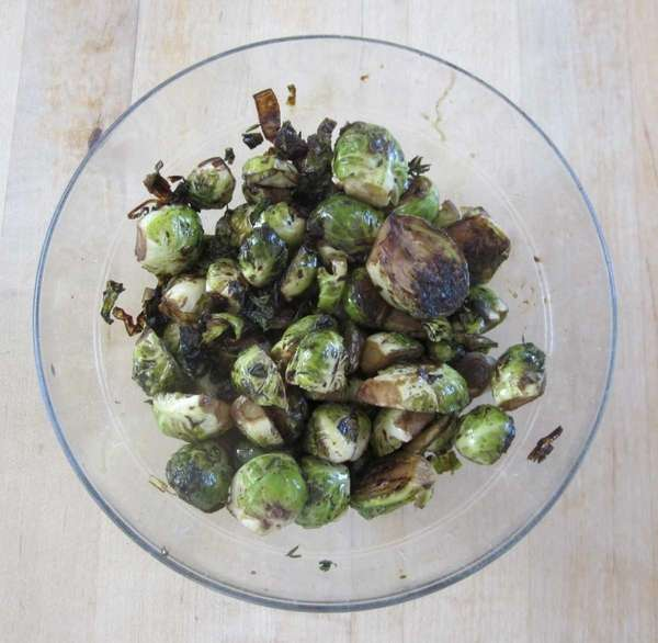 Sauteing and then roasting Brussels sprouts brings out