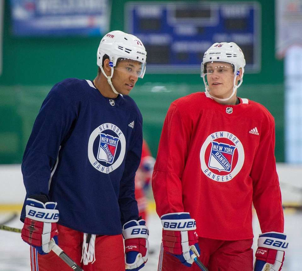 New York Rangers #45 Kaapo Kakko talking with