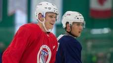Kaapo Kakko, left, at the Rangers' prospect development