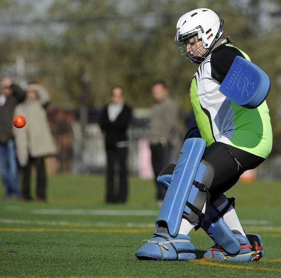 Bay Shore goalkeeper Courtney Alberto makes a kick