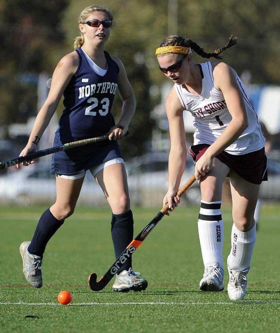 Bay Shore's Courtney Syrett moves the ball against