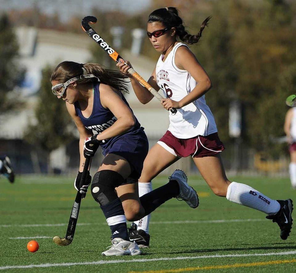 Northport's Michaela Aymong controls the ball ahead of