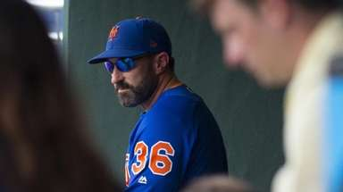 Manager Mickey Callaway of the Mets looks on