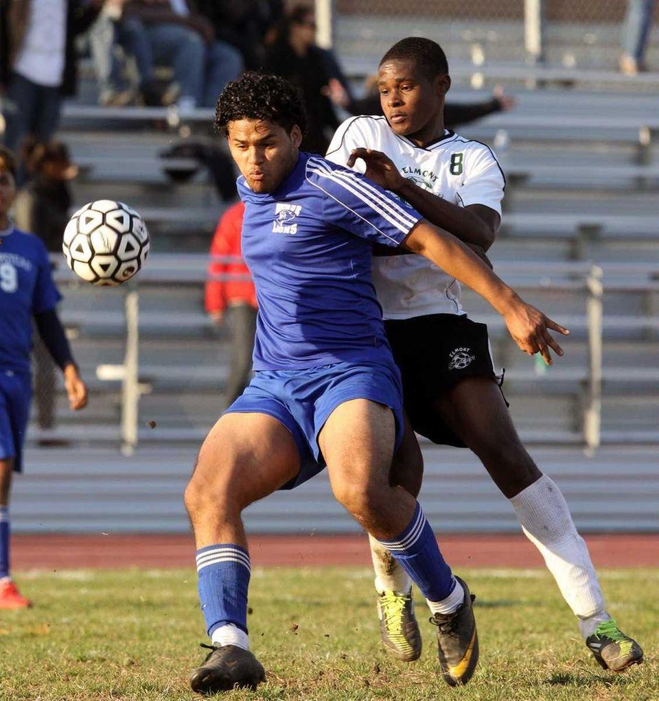 Hempstead's Joni Almendarez keeps ball away from Richard