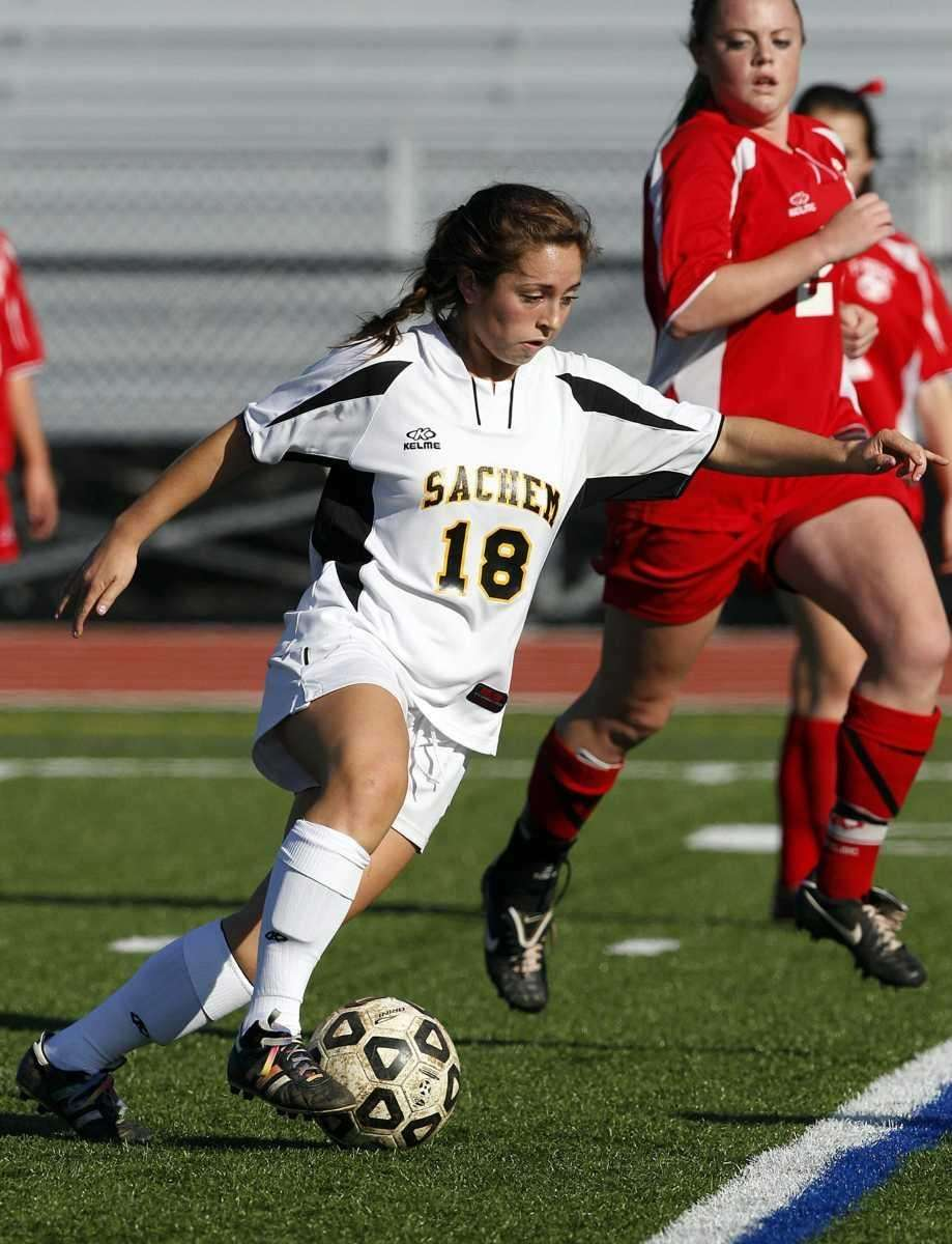 Sachem North's Courtney Cohen (18) moves the ball