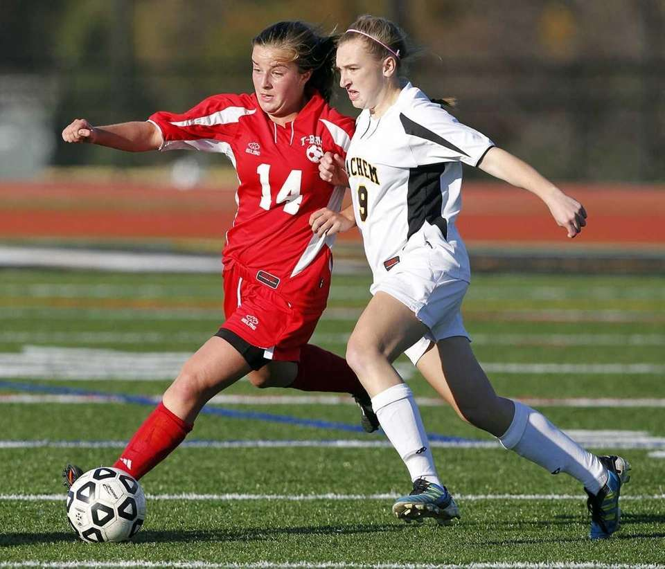 Connetquot's Emma O'Donnell (14) and Sachem North's Emily