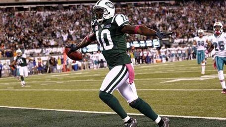 Santonio Holmes #10 of the New York Jets.