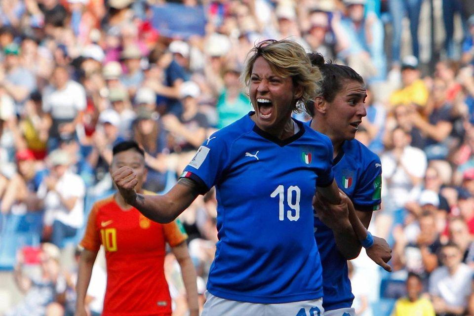 Italy's Valentina Giacinti celebrates after scoring her side's