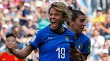 Italy's Valentina Giacinti celebrates after scoring her side's