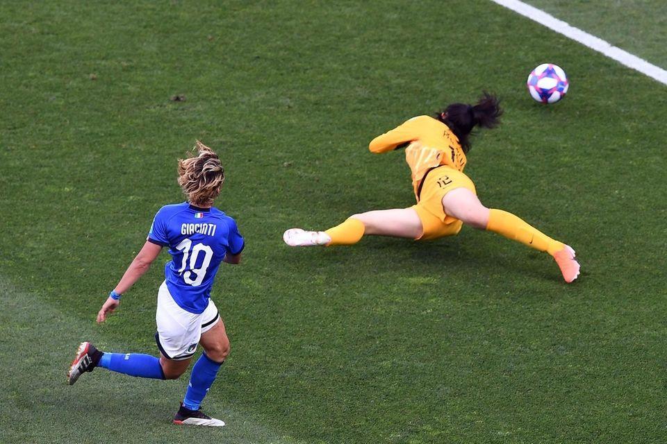 Italy forward Valentina Giacinti kicks the ball in