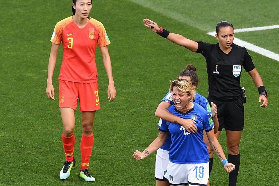 Italy forward Valentina Giacinti celebrates after scoring a