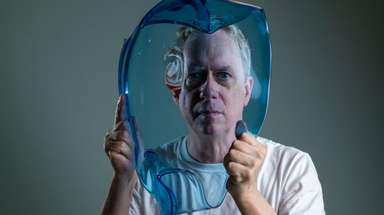 "Artist Tony Oursler with his piece ""Water Memory"