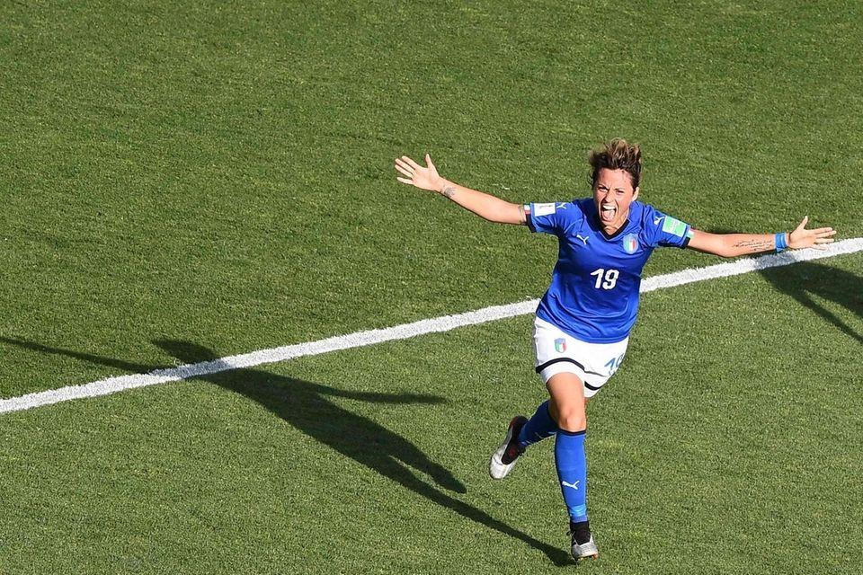 Italy forward Valentina Giacinti celebrates her team's second
