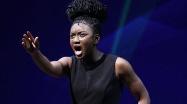 Ekele Ukegbu of Elmont performs at the Jimmy
