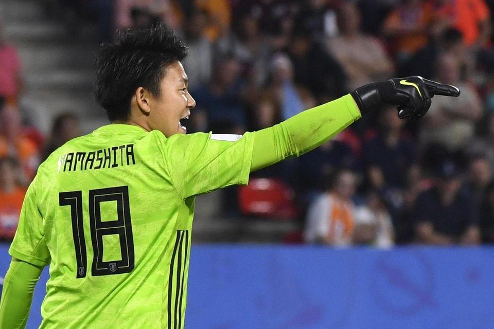 Japan's goalkeeper Ayaka Yamashita gestures during the France