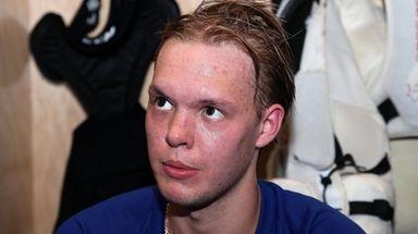Islanders goalie Linus Soderstrom speaks to the media