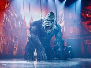 The giant mechanized creature appears during a performance