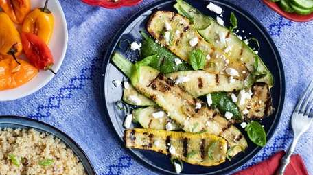 Roasted mini peppers, grilled summer squashes with feta