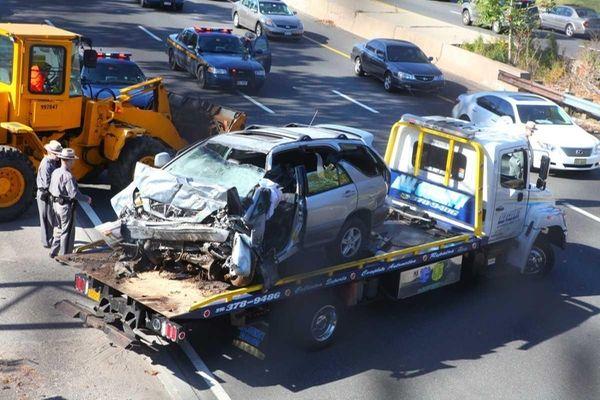 A Lexus SUV struck the Meadowbrook Road overpass