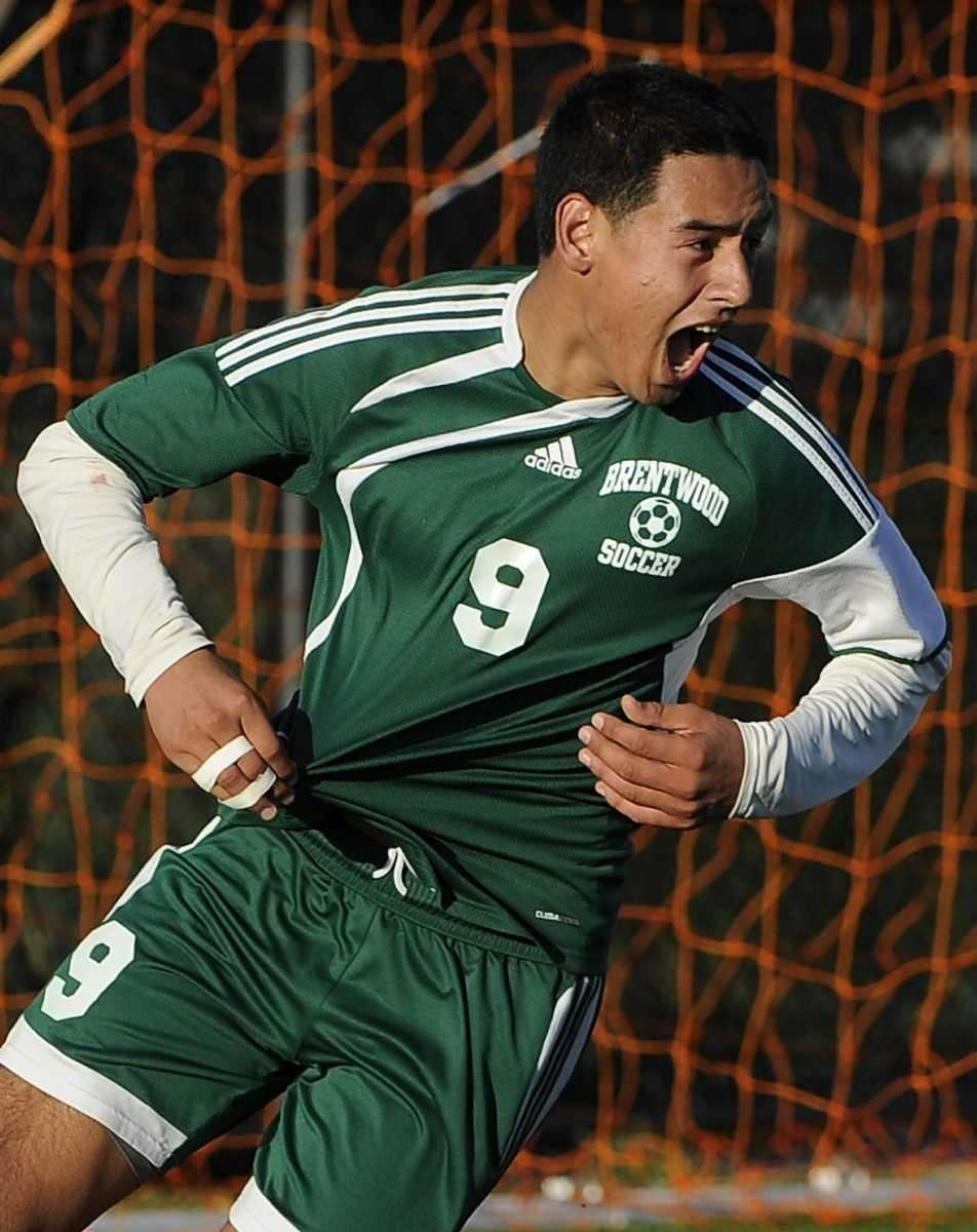 Brentwood's Jonathan Interiano reacts after scoring the winning