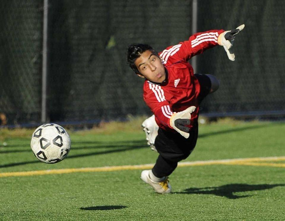 Brentwood goalkeeper Raul Bonilla can't reach the ball