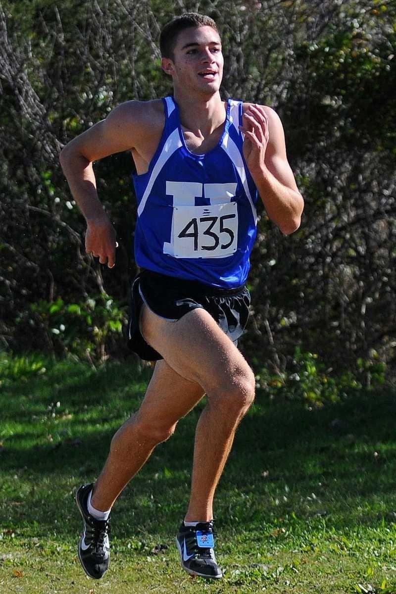 Hauppauge High School senior Ryan Colabella legs out