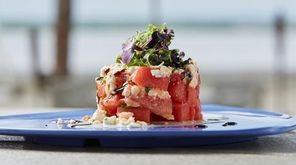 The Watermelon feta tower with mint greek yogurt,