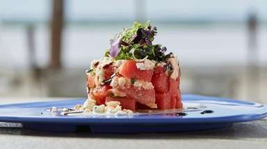 The Watermelon feta tower with mint greek yogurt,