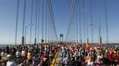 Runners cross the Verrazano-Narrows Bridge at the start