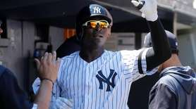 Yankees shortstop Didi Gregorius celebrates his second-inning home