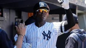 Yankees shortstop Didi Gregorius celebrates his second-inning home