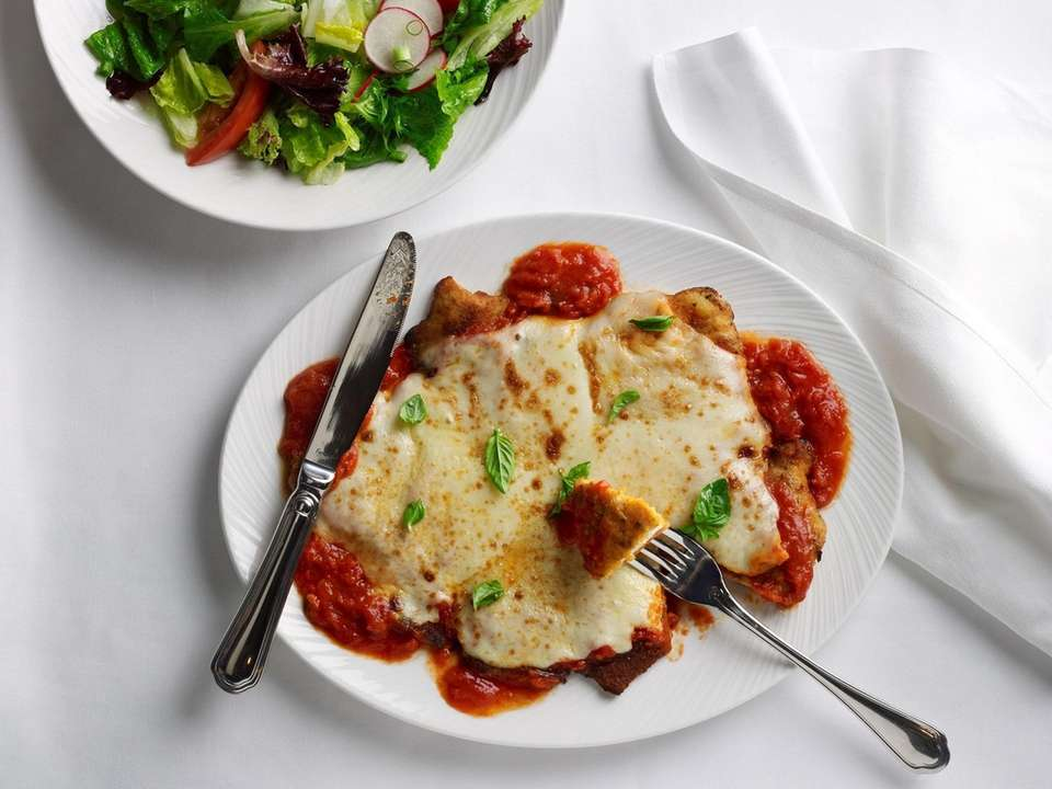 Chicken parmigiana is served at The Palm at