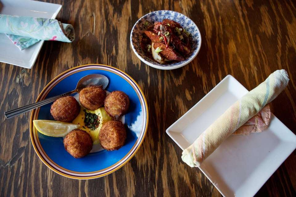 The cod croquettes and small plate of chorizo