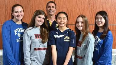 Members of the Newsday All-Long Island girls badminton