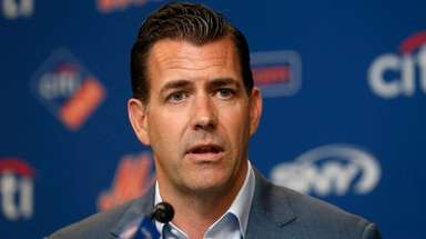 Mets general manager Brodie Van Wagenen speaks to