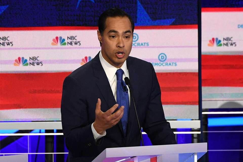 Julian Castro speaks during a Democratic primary debate