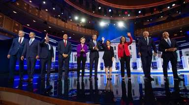 The 10 candidates onstage Wednesday night at the