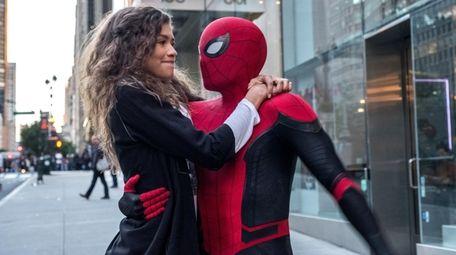 Michelle (Zendaya) catches a ride from Spider-Man in