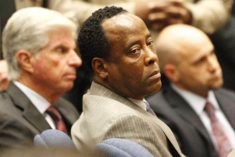Dr. Conrad Murray sits as the jury returned