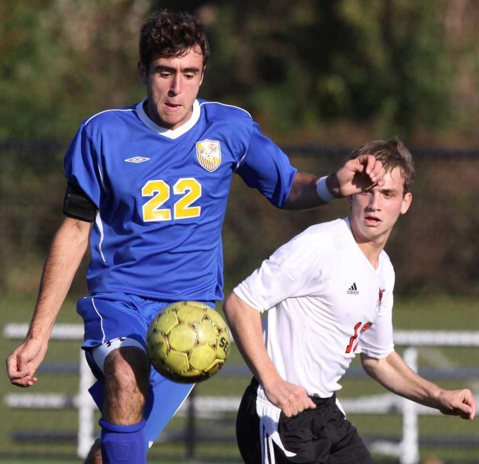 West Islip's Matt Bellucci, left, is defended by
