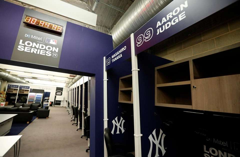 The Yankees clubhouse with the locker of Aaron