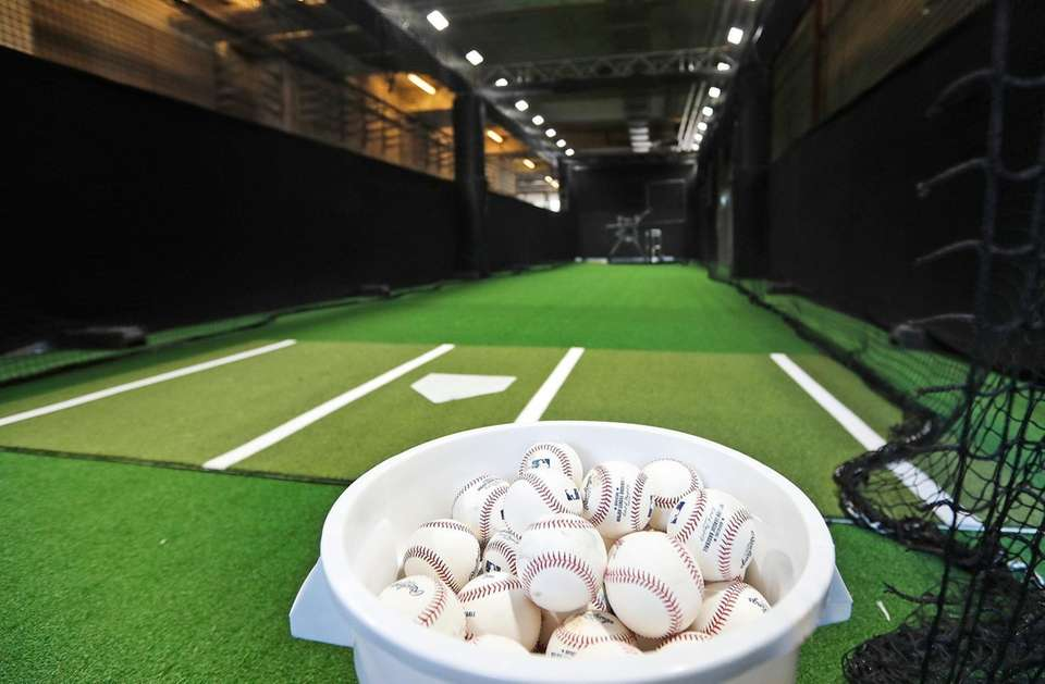A view of a batting cage during an