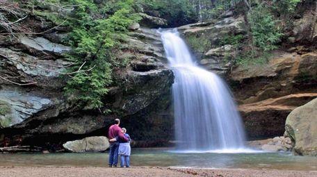 Visitors experience breathtaking Cedar Falls in Hocking Hills,