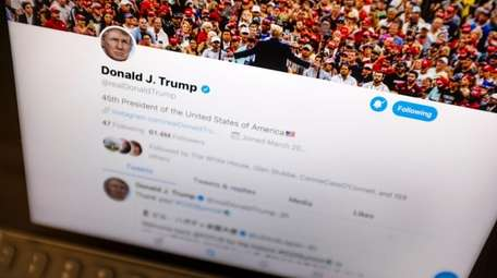 President Donald Trump's Twitter feed is photographed on