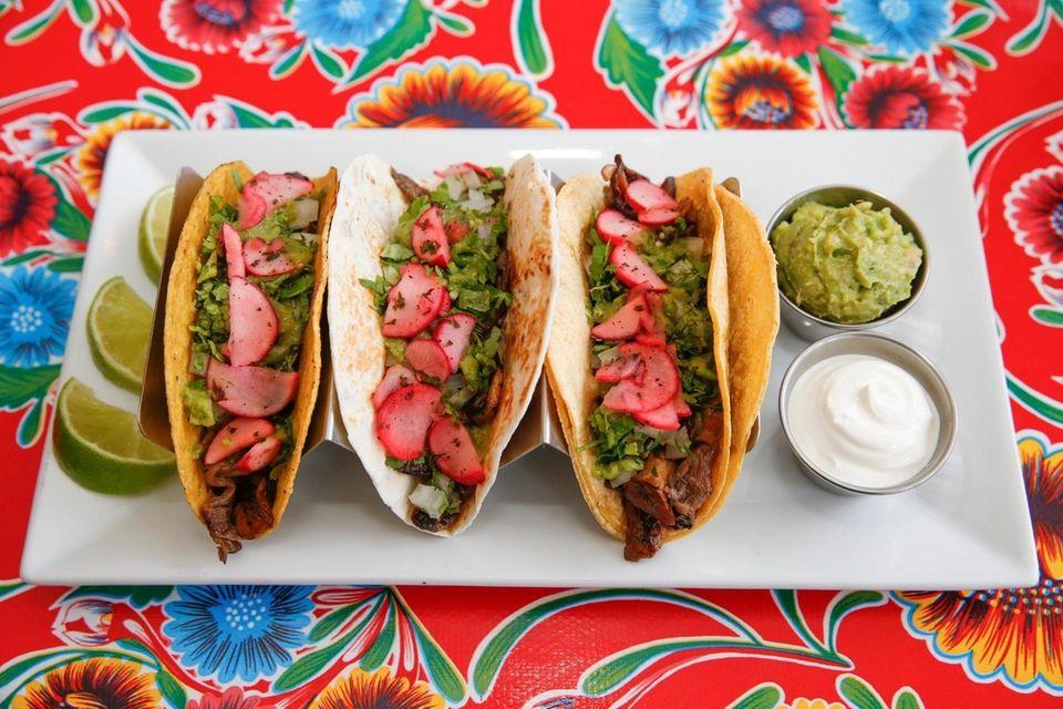 Baby portabella, shiitake,chanterelle and button mushroom tacos at