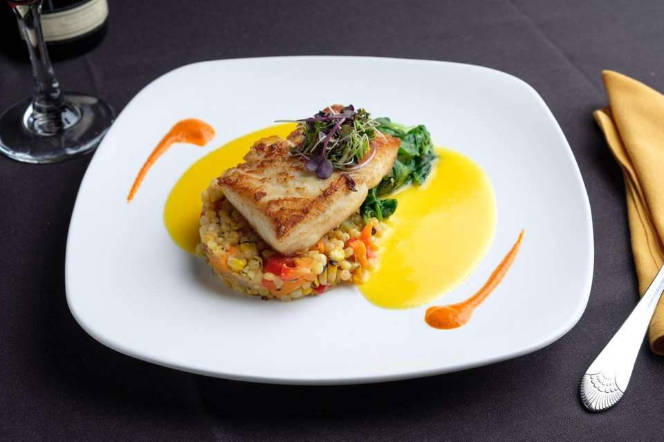 Pan seared Alaskan halibut with grilled local corn,