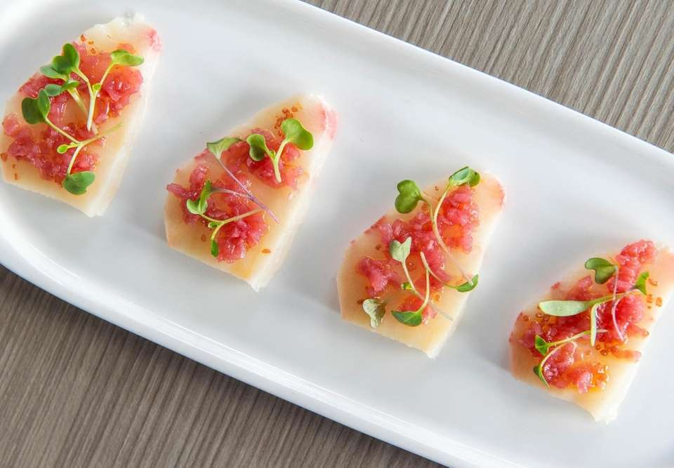Yellowtail crudo as served at Scarpetta in Montauk.