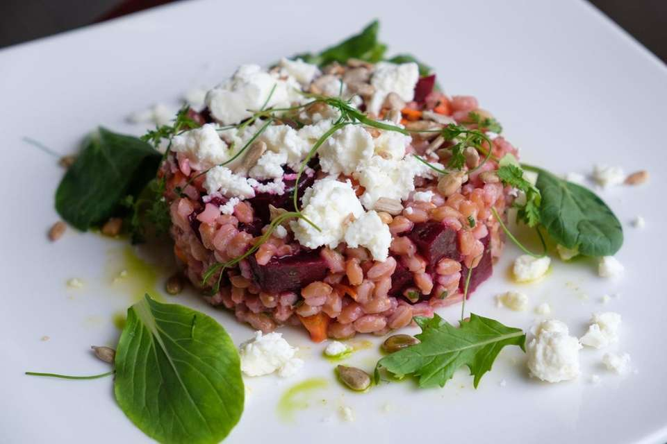 Beet salad made with farro roasted beets and